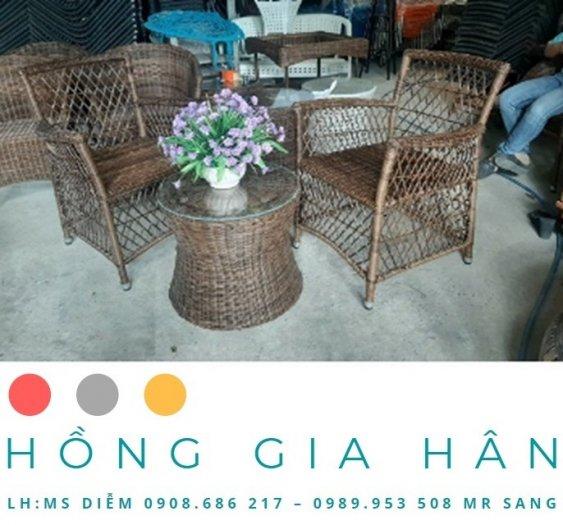 Bộ bàn ghế mây nhựa Hồng Gia Hân BGM340