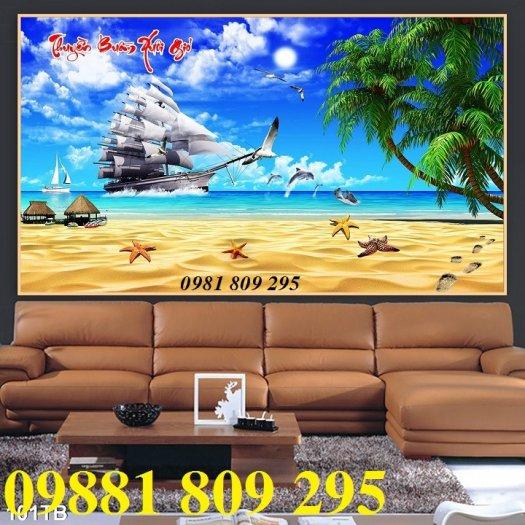 Tranh thuyền buồm 3d - gạch tranh phòng khách2