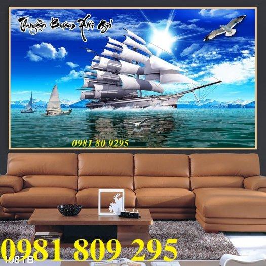 Tranh thuyền buồm 3d - gạch tranh phòng khách1