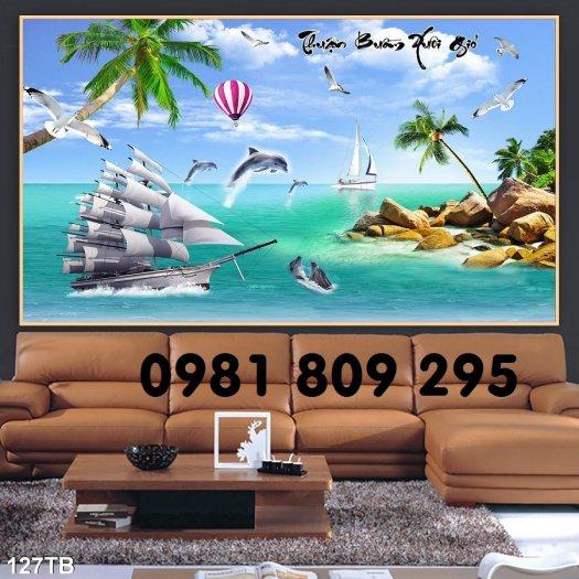 Tranh thuyền buồm 3d - gạch tranh phòng khách0