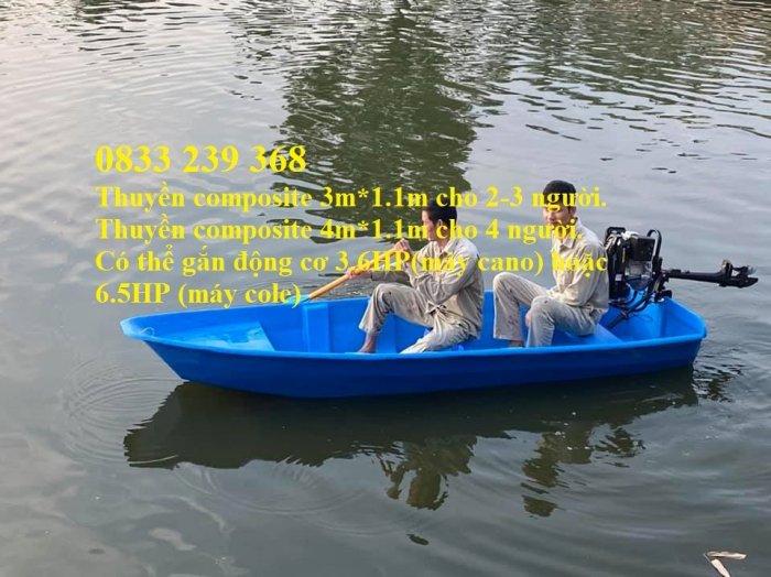 Thuyền composite 2,3 người, combo mái che nắng che mưa, kèm áo phao3