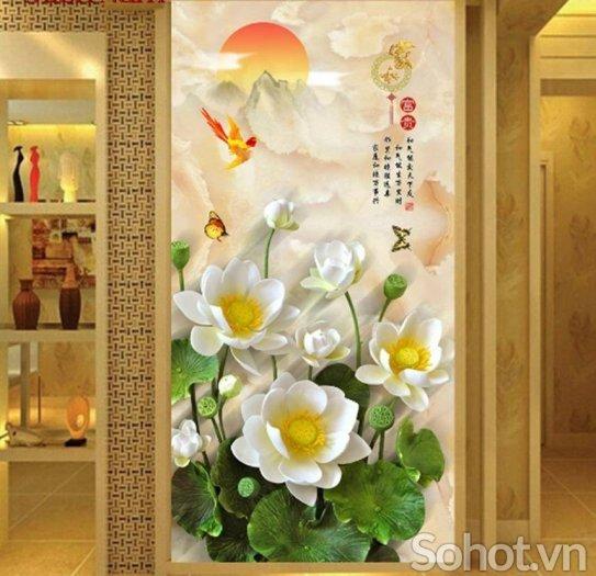 Tranh gạch men 3d hoa sen - XBV338