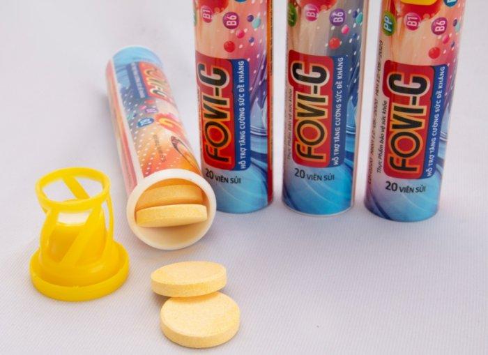 Viên sủi C bổ sung đến 500mg vitamin C - FOVI-C / Tuýp 20 viên1