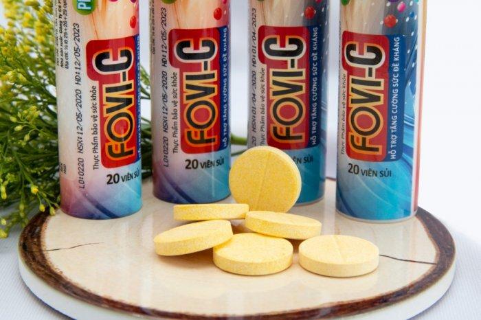 Viên sủi C bổ sung đến 500mg vitamin C - FOVI-C / Tuýp 20 viên0