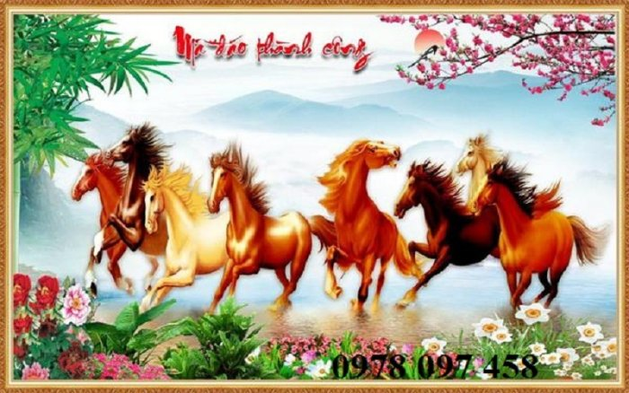 Tranh ngựa - tranh gạch men cao cấp1