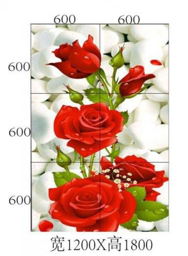 Tranh hoa hồng tranh gạch 3d hoa hồng - QNV337