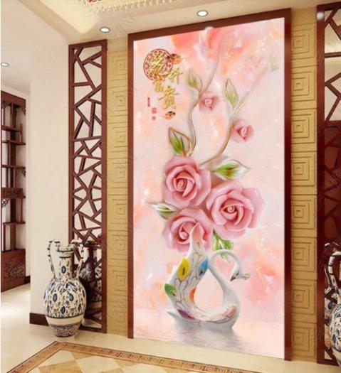 Tranh hoa hồng tranh gạch 3d hoa hồng - QNV331