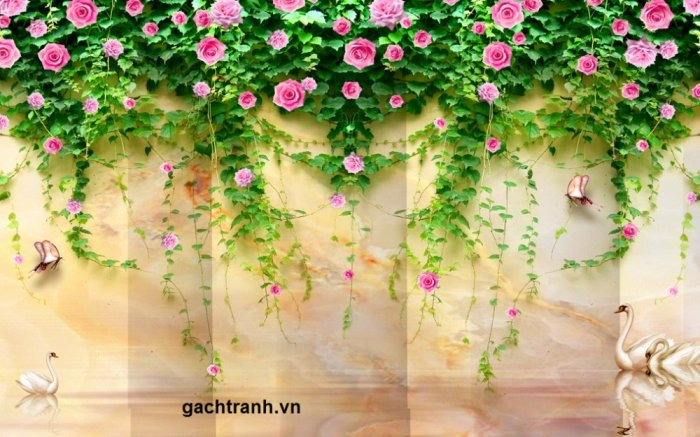 Gạch tranh 3d hoa hồng leo - XX118