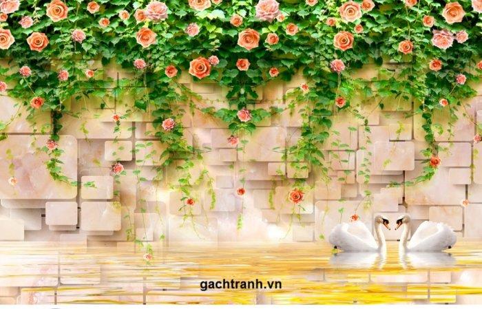 Gạch tranh 3d hoa hồng leo - XX117