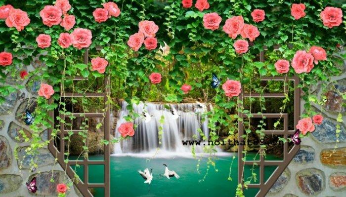 Gạch tranh 3d hoa hồng leo - XX116