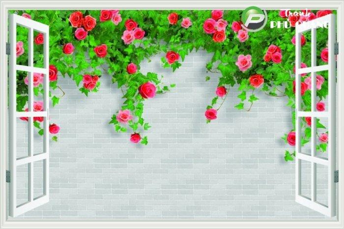 Gạch tranh 3d hoa hồng leo - XX110