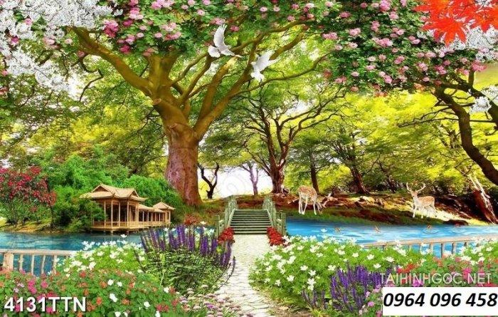 Gạch tranh 3d ốp tường phong cảnh rừng cây đẹp - VC4410