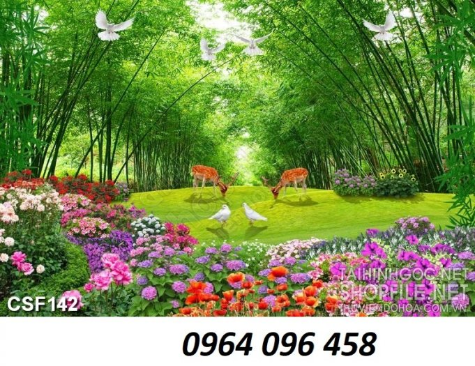Gạch tranh 3d ốp tường phong cảnh rừng cây đẹp - VC448