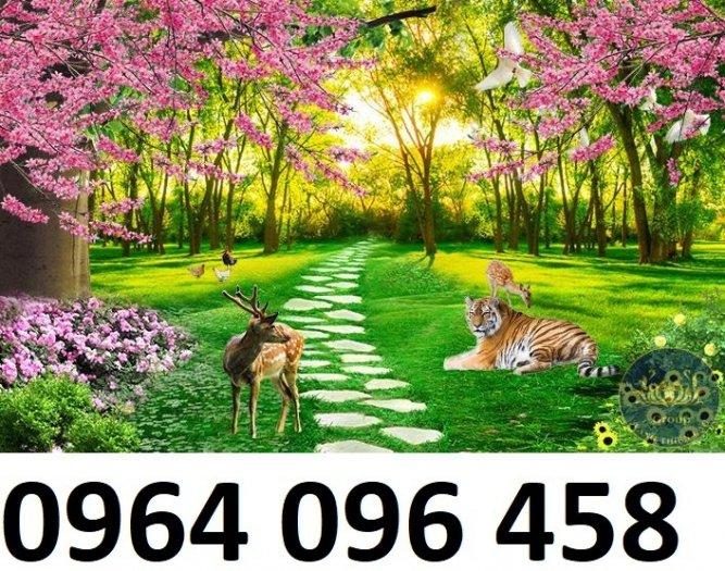 Gạch tranh 3d ốp tường phong cảnh rừng cây đẹp - VC447