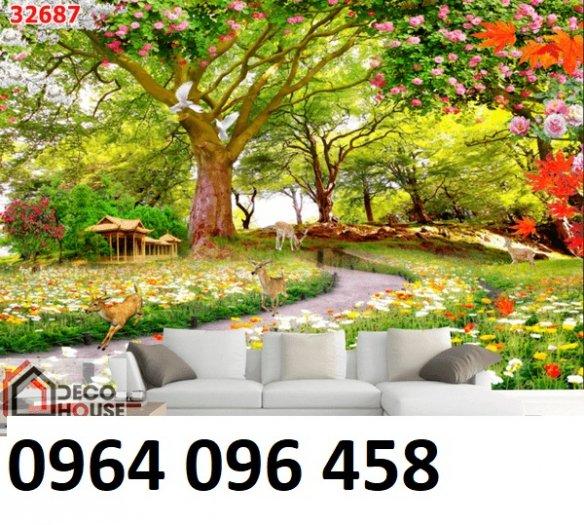 Gạch tranh 3d ốp tường phong cảnh rừng cây đẹp - VC444
