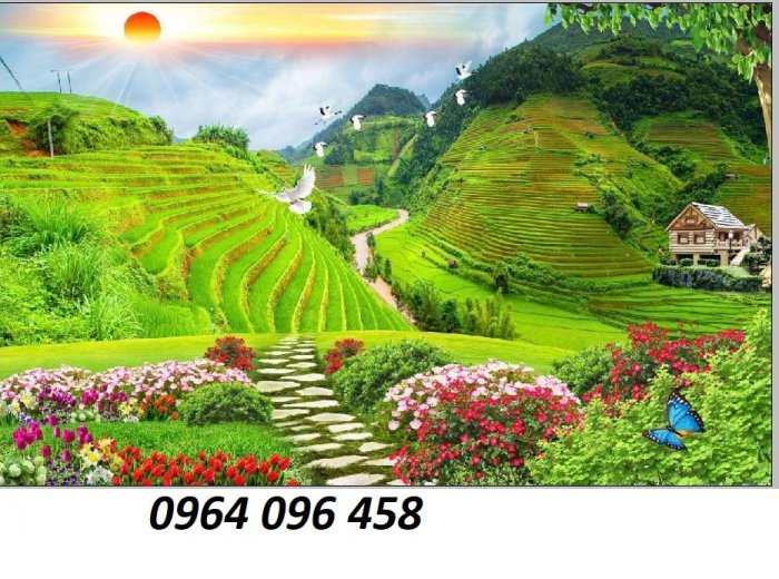 Gạch tranh 3d ốp tường phong cảnh rừng cây đẹp - VC441