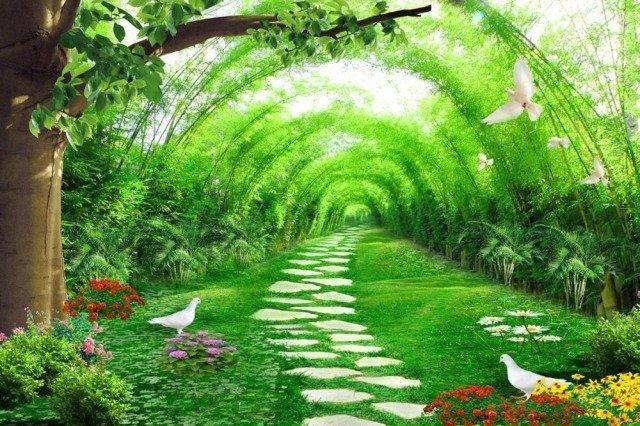 Gạch tranh 3d ốp tường phong cảnh rừng cây đẹp - VC440
