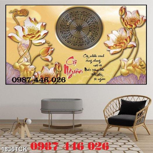 Tranh gạch men hoa sen HP90546