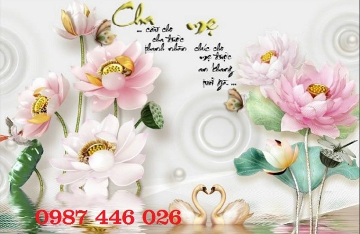 Tranh gạch men hoa sen HP90543