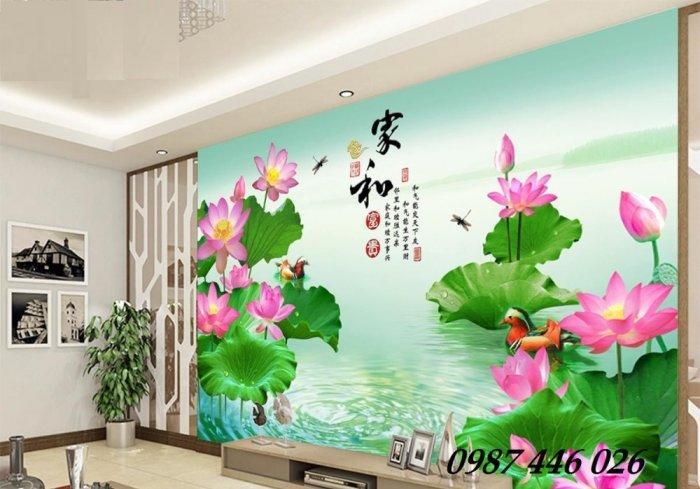 Tranh gạch men hoa sen HP90542