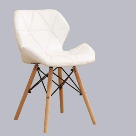 Ghế cafe nệm da tam giác màu trắng2