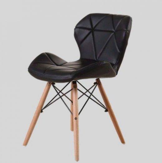 Ghế da tam giác chân gỗ màu đen huyền bí1