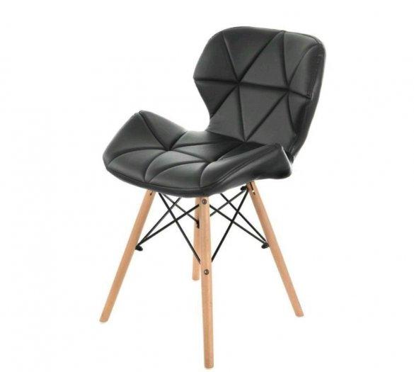 Ghế da tam giác chân gỗ màu đen huyền bí0