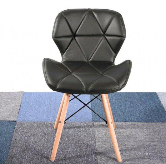 Ghế da tam giác chân gỗ màu đen huyền bí3