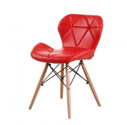 Ghế da tam giác chân gỗ, ghế nệm da màu đỏ0