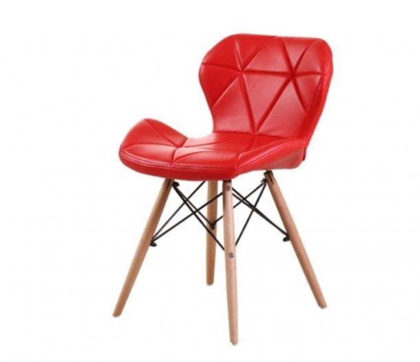 Ghế da tam giác chân gỗ, ghế nệm da màu đỏ2