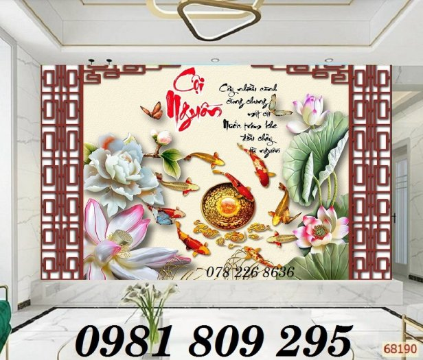 Tranh hoa sen - tranh gạch men - gạch tranh 3d2