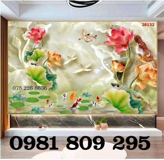 Tranh hoa sen - tranh gạch men - gạch tranh 3d1