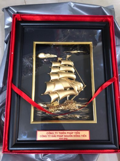Tranh thuyền buồm mạ vàng 24k,Quà tặng phong thủy cao cấp2