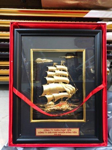 Tranh thuyền buồm mạ vàng 24k,Quà tặng phong thủy cao cấp1