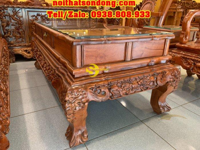Bộ bàn ghê hương đá chạm đào đẹp vai cong mặt liền 6 món tay 123