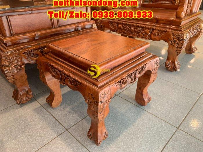 Bộ bàn ghê hương đá chạm đào đẹp vai cong mặt liền 6 món tay 121