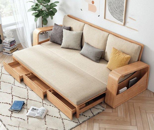 Sofa giường gỗ kéo sang trọng cho phòng khách tại Dĩ An, Bình Dương3