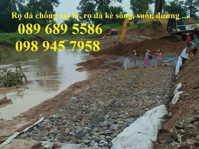 Rọ thép chống sạt lở bờ sông, Làm Rọ đá kè hồ 2x1x1, 1x1x1 mạ kẽm và bọc nhựa2