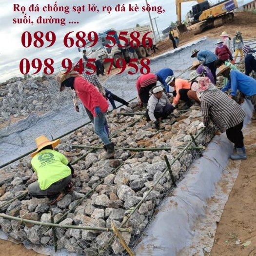Rọ thép chống sạt lở bờ sông, Làm Rọ đá kè hồ 2x1x1, 1x1x1 mạ kẽm và bọc nhựa0