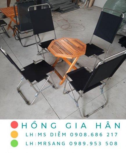 Bộ bàn ghế sắt xếp gọn tiện lợi Hồng Gia Hân BGS240