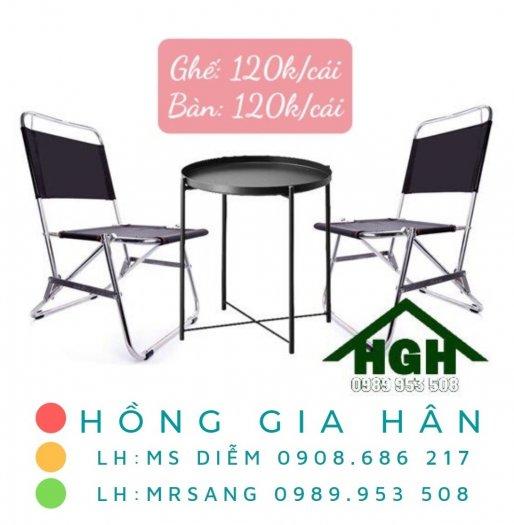 Bộ bàn ghế Cafe xếp gọn Hồng Gia Hân BGS230