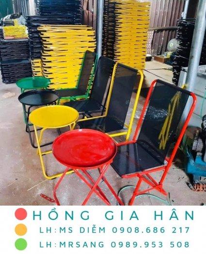 Bộ bàn ghế Cafe xếp gọn lưng lưới nghệ thuật Hồng Gia Hân BGS230