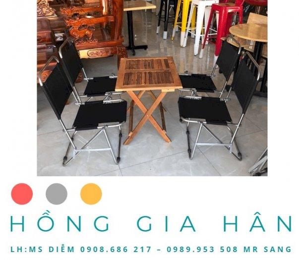 Bộ bàn ghế Cafe xếp gọn Hồng Gia Hân BGS220