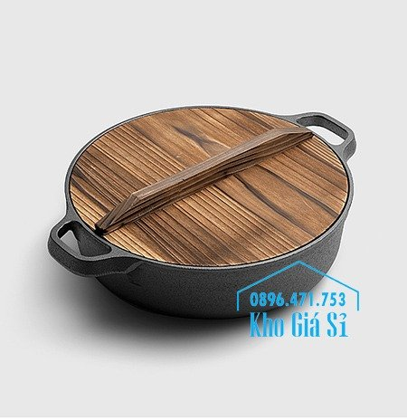 Bán nồi gang đen đúc nguyên khối nấu lẩu cho nhà hàng kiểu Nhật - Nồi gang đen nắp đậy bằng gỗ nấu cơm cháy truyền thống24