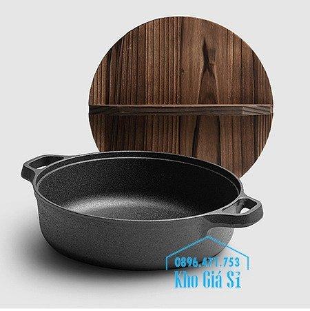 Bán nồi gang đen đúc nguyên khối nấu lẩu cho nhà hàng kiểu Nhật - Nồi gang đen nắp đậy bằng gỗ nấu cơm cháy truyền thống23