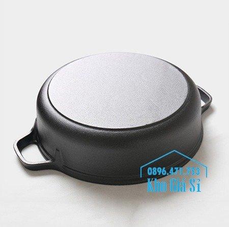 Bán nồi gang đen đúc nguyên khối nấu lẩu cho nhà hàng kiểu Nhật - Nồi gang đen nắp đậy bằng gỗ nấu cơm cháy truyền thống21