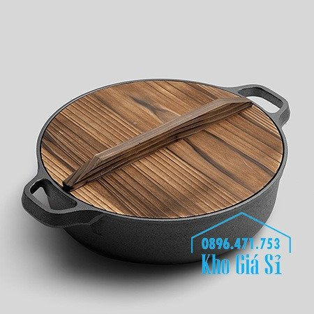 Bán nồi gang đen đúc nguyên khối nấu lẩu cho nhà hàng kiểu Nhật - Nồi gang đen nắp đậy bằng gỗ nấu cơm cháy truyền thống20