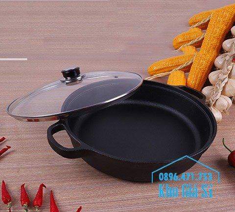 Bán nồi gang đen đúc nguyên khối nấu lẩu cho nhà hàng kiểu Nhật - Nồi gang đen nắp đậy bằng gỗ nấu cơm cháy truyền thống14