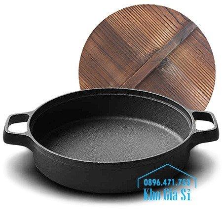 Bán nồi gang đen đúc nguyên khối nấu lẩu cho nhà hàng kiểu Nhật - Nồi gang đen nắp đậy bằng gỗ nấu cơm cháy truyền thống10