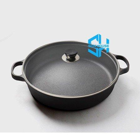 Bán nồi gang đen đúc nguyên khối nấu lẩu cho nhà hàng kiểu Nhật - Nồi gang đen nắp đậy bằng gỗ nấu cơm cháy truyền thống0